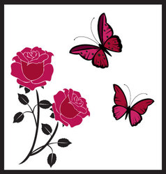 Butterflies with roses vector
