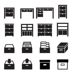 cabinet storage icon set vector image