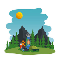 Camping zone with equipment scene vector