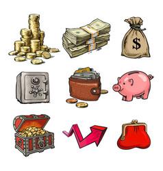 cartoon set business money symbols vector image
