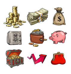 cartoon set of business money symbols vector image