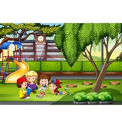 Children working in the park vector