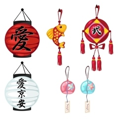 Chinese paper lanterns and other oriental symbols vector