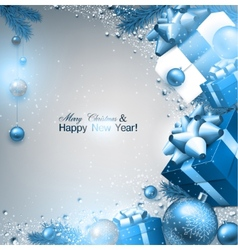christmas background with fir twigs gifts and blue vector image