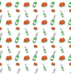 Christmas Seamless Pattern with Champagne vector image