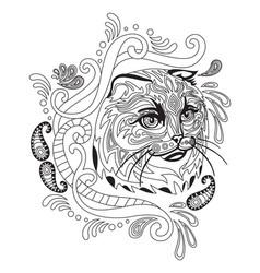 Coloring antistress cat 4 vector