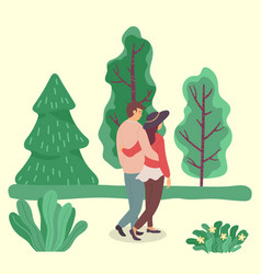 Couple in love on romantic date in summer park vector