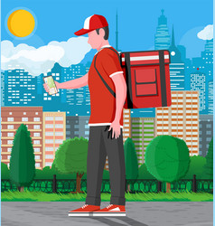 courier uniform receiving web order on phone vector image