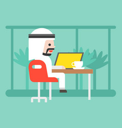 Cute arab business man sitting in cafe with vector
