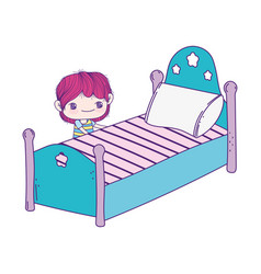 Cute little boy cartoon and bed with pillow vector