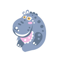 cute smiling cartoon hippo character sitting on vector image