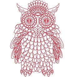 Decorative bird - owl is made of lace isolated vector image