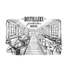 Distillery production house vector