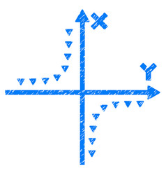 Dotted hyperbola plot grunge icon vector