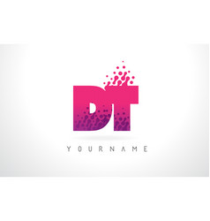 Dt d t letter logo with pink purple color and vector