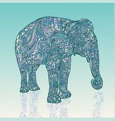 elephant in asian style mandala style blue vector image