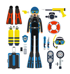 Equipment for underwater sport gas scuba wetsuit vector
