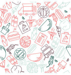 Fast food icons background simple outline stroke vector