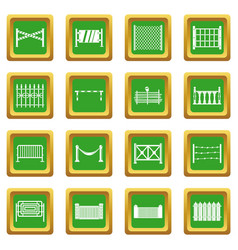 Fencing icons set green vector