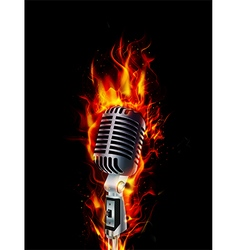 Fire burning microphone on black background vector