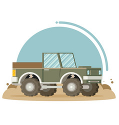 flat design of car in motion on a safari trip vector image