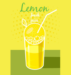 fresh lemon juice leaflet banner vector image