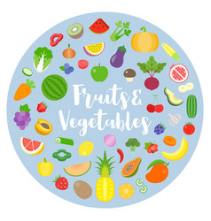fruits and vegetables arrange in circle shape vector image