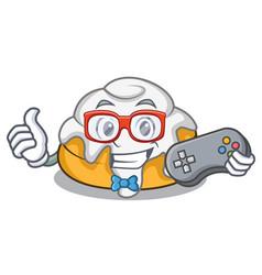 Gamer cinnamon roll mascot cartoon vector