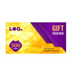 Gift voucher bright design with gold background vector