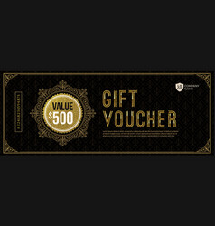 gift voucher template with golden luxury elements vector image