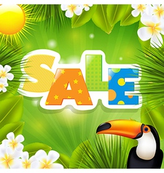 Green Sale Poster With Tropical Elements vector