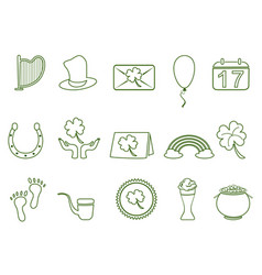 green st patricks day outline icon set vector image