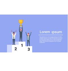 Happy business people standing on winners podium vector