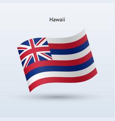 Hawaii flag waving form vector