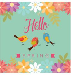 hello spring bird flower green background i vector image