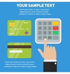Human hand entering pin code in ATM payment vector image