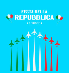 Italy republic day june 2nd in italian hand vector