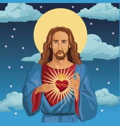 Jesus christ sacred heart catholic night vector
