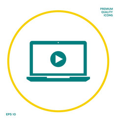 laptop with play button icon graphic elements vector image