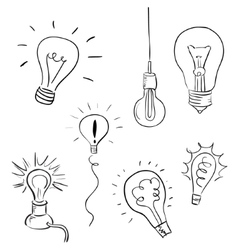 Light Bulb Set sketchy design vector image