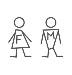 Man and lady toilet sign editable stroke eps 10 vector
