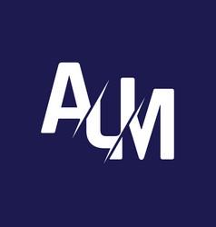 Monogram letters initial logo design aum vector