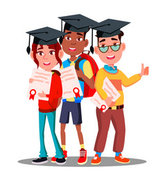 multinational group of students in graduation caps vector image