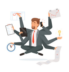 multitasking businessman office worker making vector image