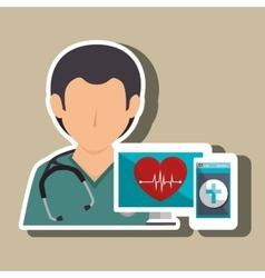 Nurse computer service health vector