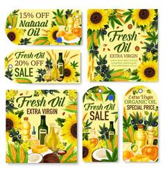 Olive sunflower corn canola coconut oil tags vector