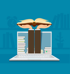 online learning hands holding an open book vector image