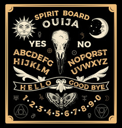 ouija board with crow skull occultism set vector image