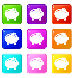 Piggy bank icons 9 set vector