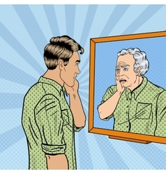 Pop Art Shocked Man Looking at Older Himself vector